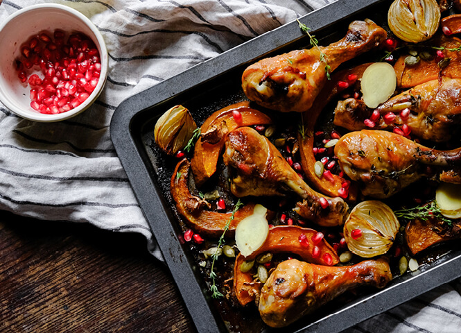 Roast chicken with squash and pomegranate